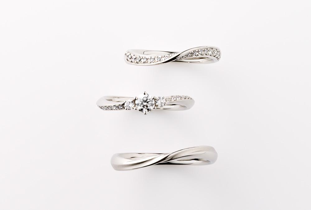 結婚指輪、婚約指輪・S字(ウェーブ)デザイン