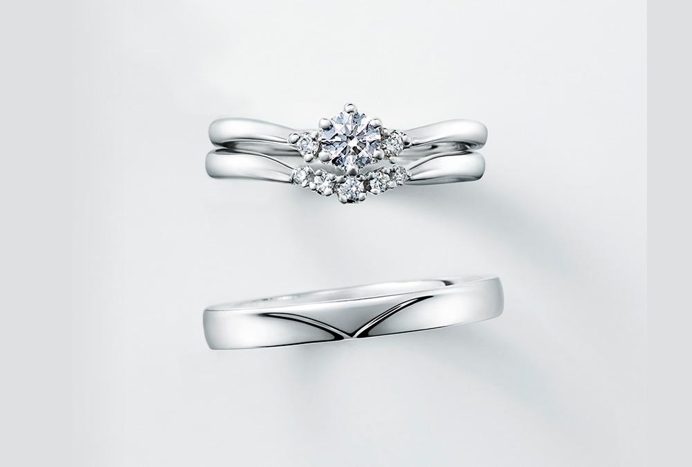 結婚指輪、婚約指輪・V字デザイン