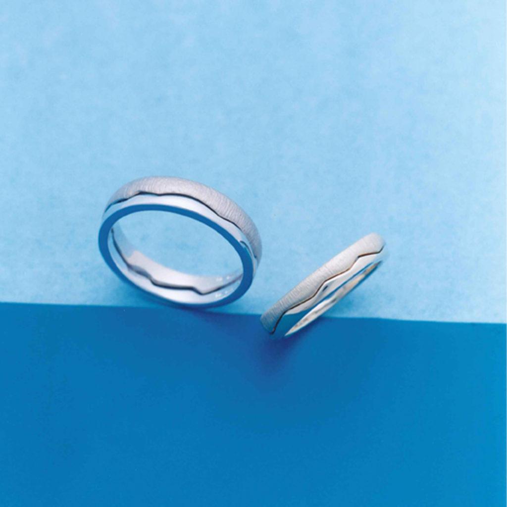 ぷかぷか 結婚指輪 キュート 個性派 ストレート 幅広 プラチナ ホワイトゴールド コンビ