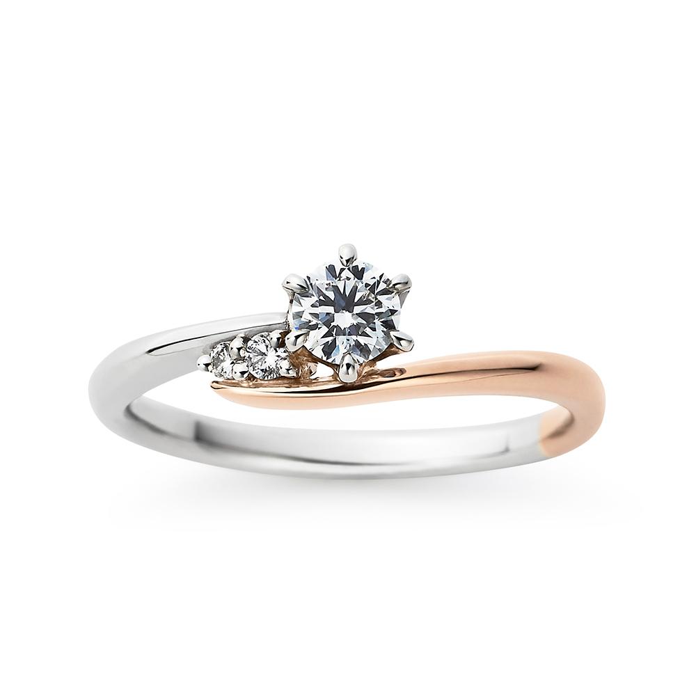 Savon 婚約指輪 キュート S字(ウェーブ) プラチナ ピンクゴールド コンビ