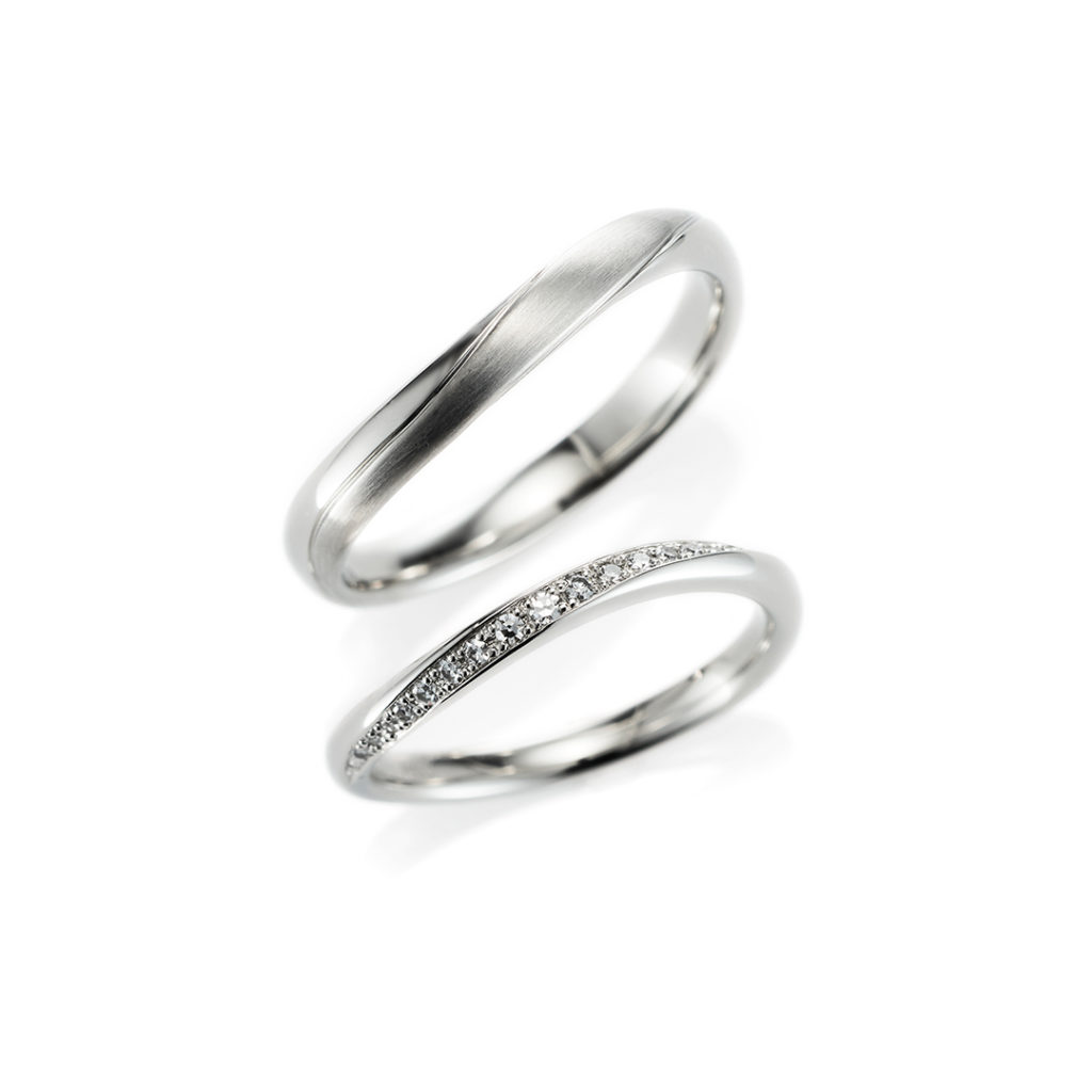 Commune 結婚指輪 シンプル エレガント S字(ウェーブ) プラチナ