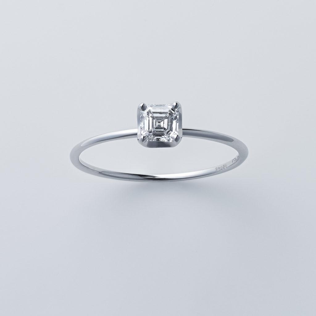 ストレートライン×アッシャーカット 婚約指輪 シンプル ストレート プラチナ