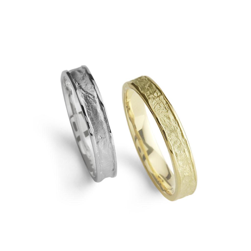 蛍灯 - Honoka - 明燈 Akebi 結婚指輪 個性派 ストレート プラチナ イエローゴールド