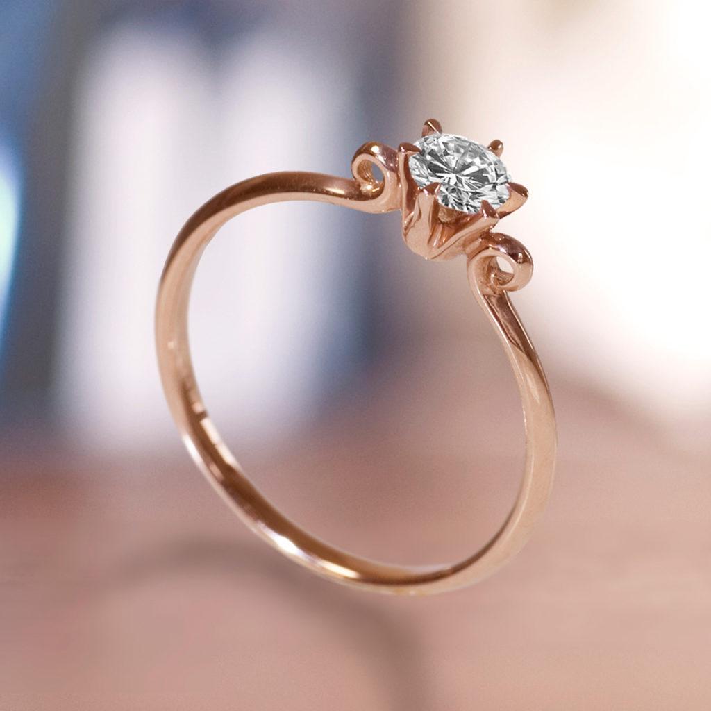 Lyre-d'ange 婚約指輪 アンティーク キュート ストレート ピンクゴールド