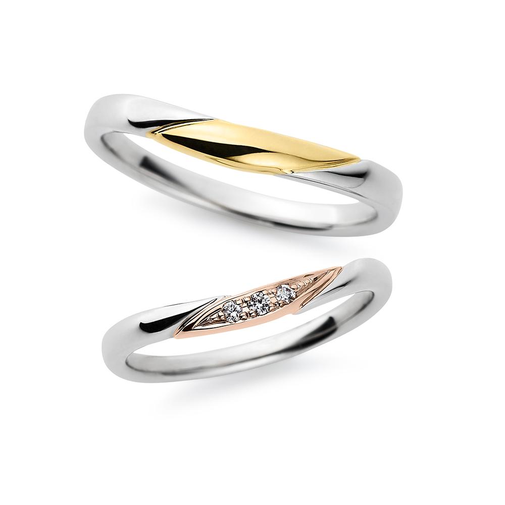 Savon 結婚指輪 シンプル S字(ウェーブ) プラチナ イエローゴールド ピンクゴールド コンビ