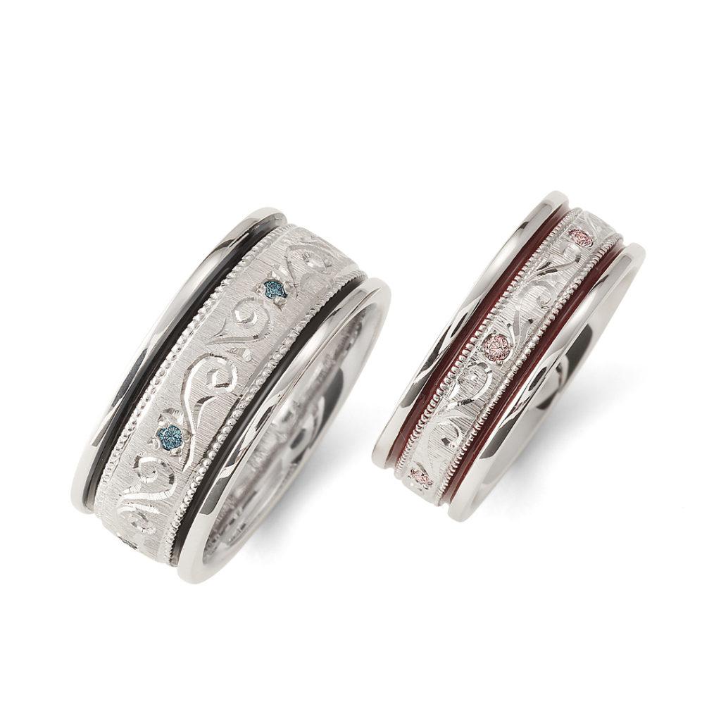 永遠 - Towa - 紡 Tsumugi 結婚指輪 エレガント 個性派 ストレート プラチナ