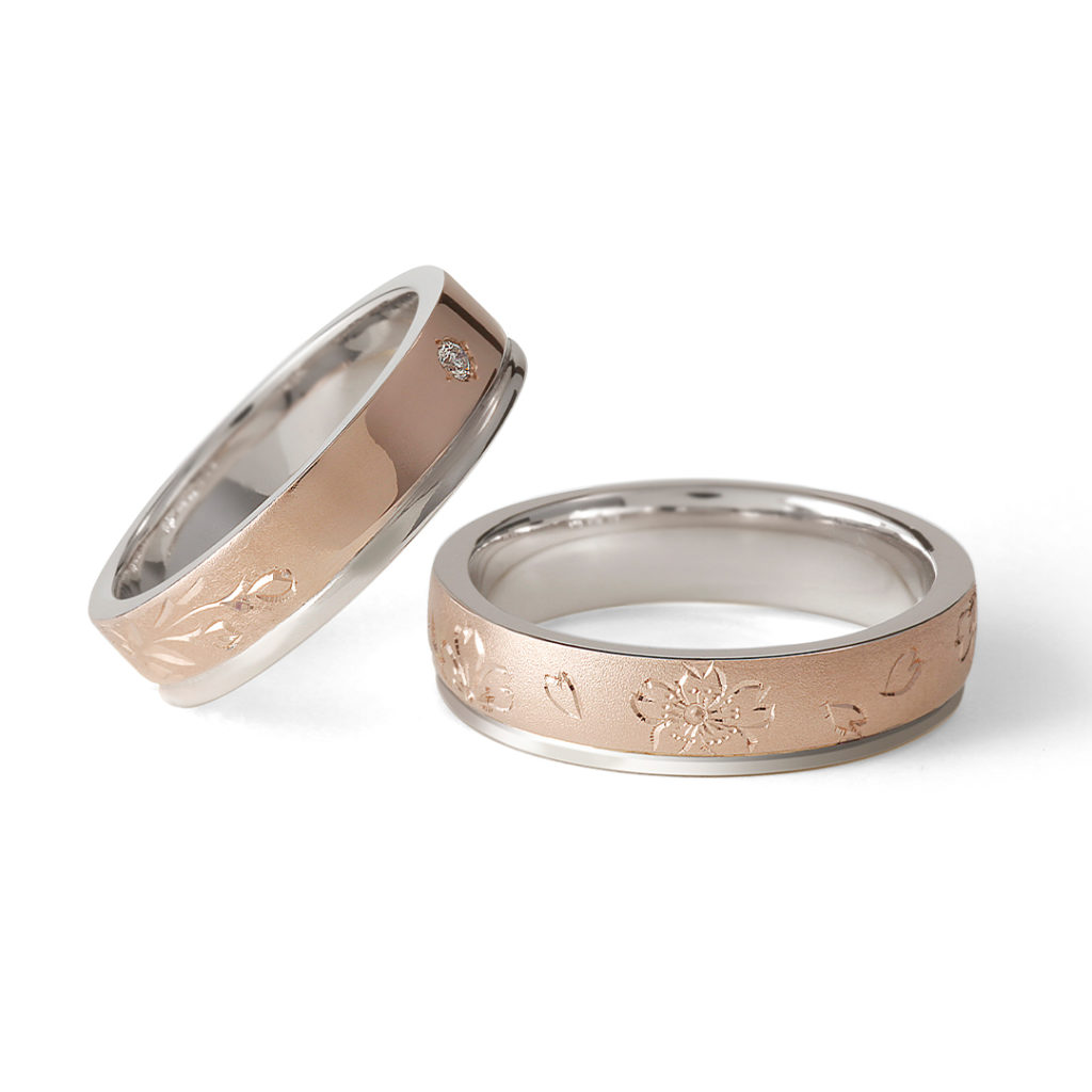 桜薫 - Haruka - 爛漫 Ranman 結婚指輪 シンプル キュート 個性派 ストレート ピンクゴールド