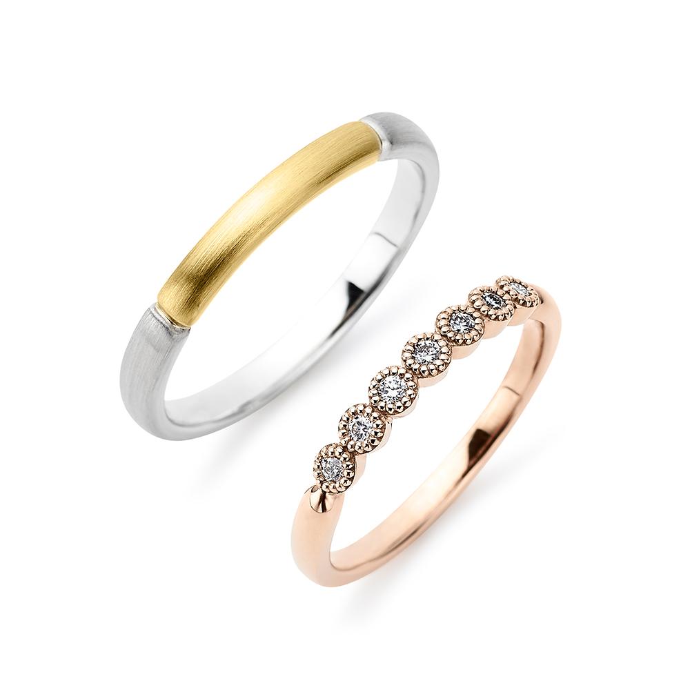 Sucre 結婚指輪 キュート ストレート プラチナ イエローゴールド ピンクゴールド コンビ