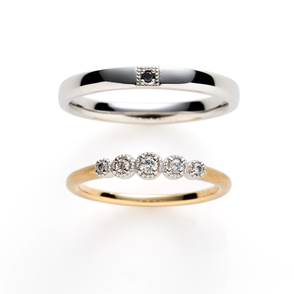 bourgeon 結婚指輪 アンティーク ストレート コンビ