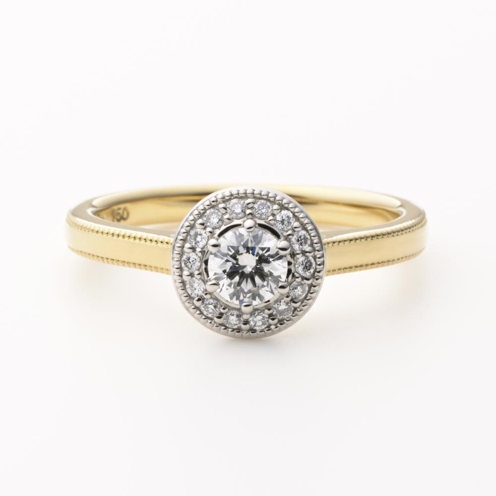 LOFTE 婚約指輪 シンプル アンティーク 個性派 ストレート プラチナ イエローゴールド コンビ