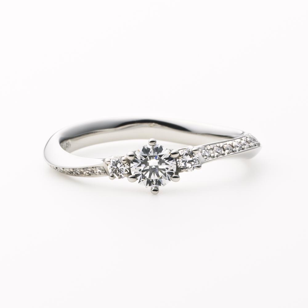 OLA 婚約指輪 シンプル エレガント S字(ウェーブ) プラチナ