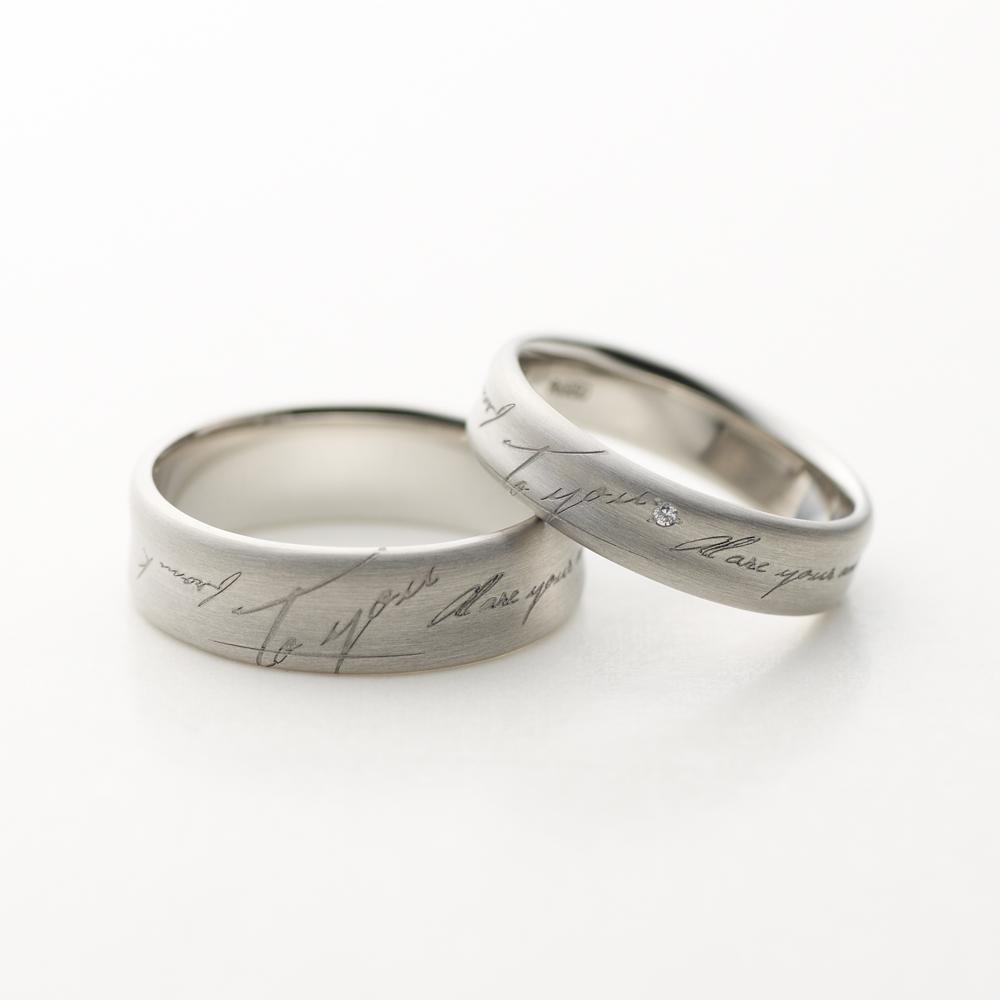 LETTER 結婚指輪 シンプル アンティーク 個性派 ストレート 幅広 パラジウム