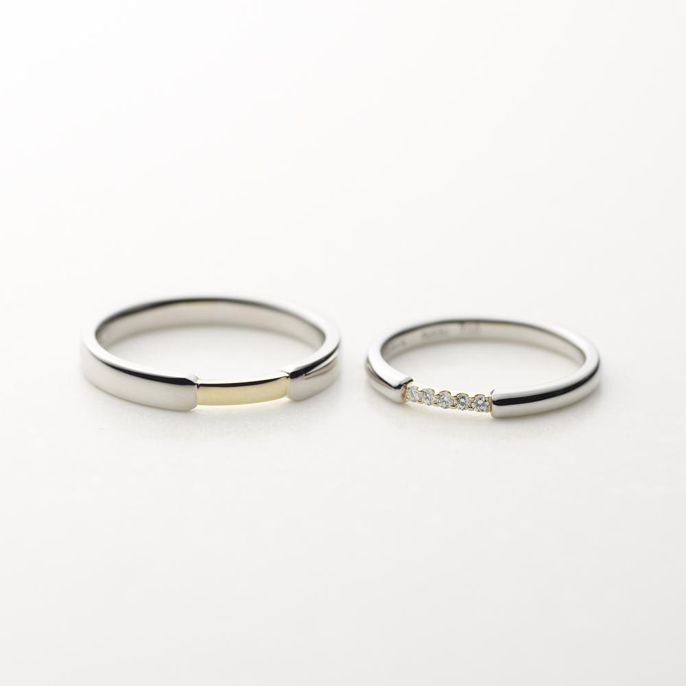 PUENTE 結婚指輪 シンプル 個性派 ストレート イエローゴールド コンビ パラジウム