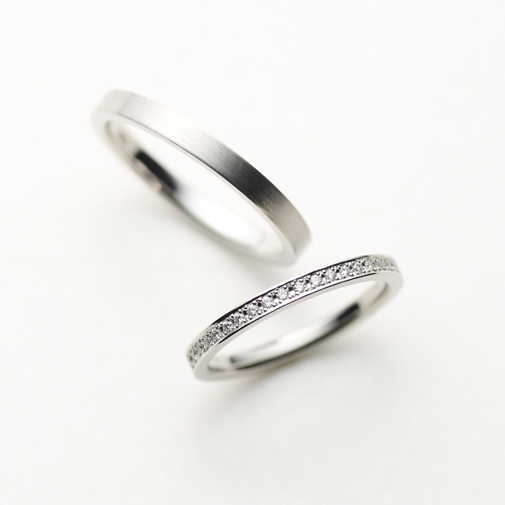 SCHIENE 結婚指輪 シンプル エレガント ストレート エタニティ プラチナ