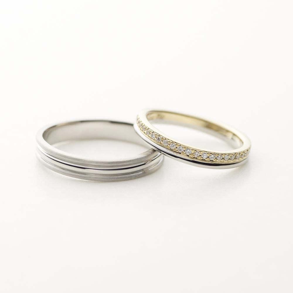 TREPPE 結婚指輪 エレガント 個性派 V字(ウェーブ) エタニティ プラチナ コンビ