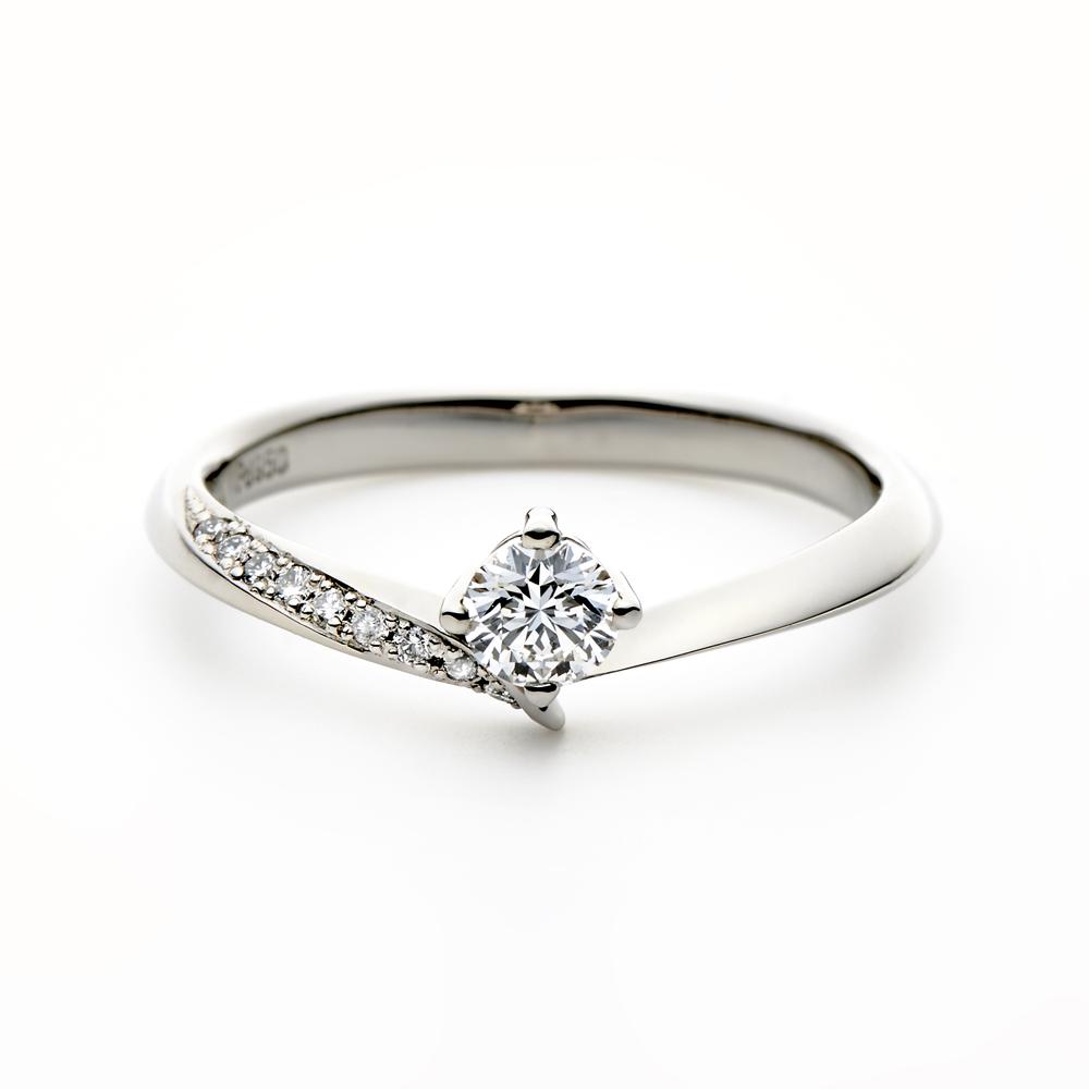COLINA 婚約指輪 シンプル エレガント V字(ウェーブ) プラチナ