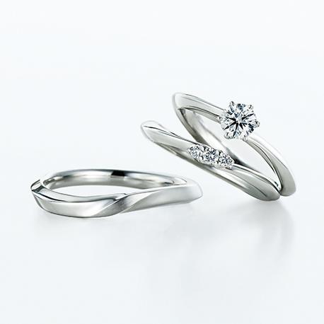 Canopus 結婚指輪 セットリング シンプル エレガント S字(ウェーブ) プラチナ