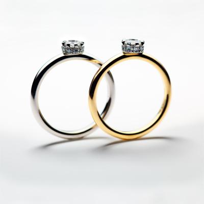 cercle 婚約指輪 シンプル キュート ストレート プラチナ イエローゴールド