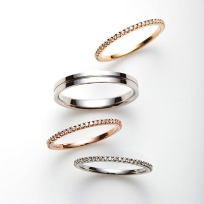 chemin 結婚指輪 シンプル キュート ストレート エタニティ プラチナ ピンクゴールド