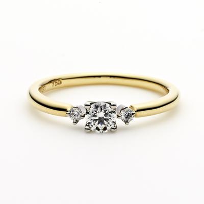PUENTE 婚約指輪 シンプル 個性派 ストレート イエローゴールド コンビ パラジウム
