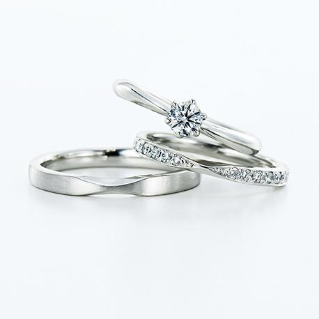 Dione 結婚指輪 セットリング エレガント 個性派 ストレート プラチナ