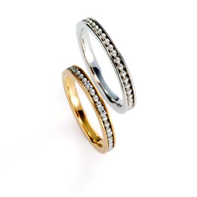 drop 結婚指輪 アンティーク 個性派 ストレート プラチナ イエローゴールド コンビ
