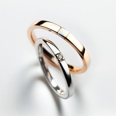 fossette 結婚指輪 シンプル キュート ストレート プラチナ ピンクゴールド コンビ
