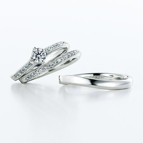 Mira 結婚指輪 セットリング シンプル エレガント S字(ウェーブ) プラチナ