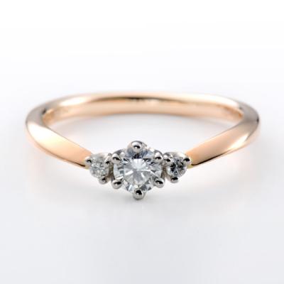 Muguet 婚約指輪 キュート V字(ウェーブ) ピンクゴールド