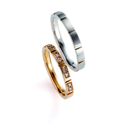 ponte 婚約指輪 結婚指輪 エレガント 個性派 ストレート プラチナ イエローゴールド
