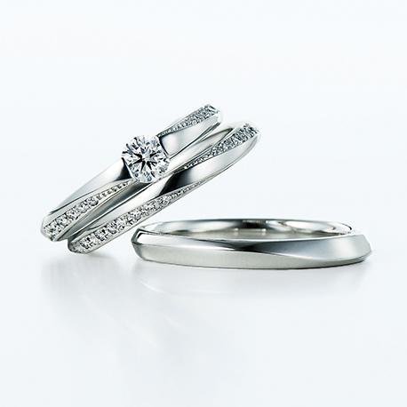 Sheat 婚約指輪 結婚指輪 セットリング シンプル エレガント S字(ウェーブ) プラチナ