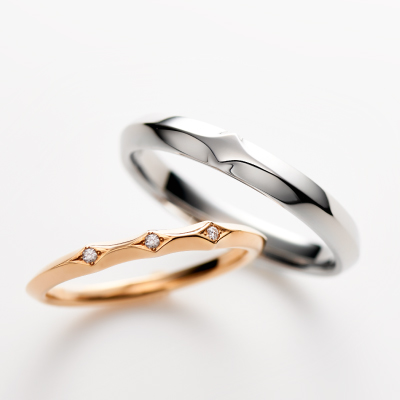 Statice 結婚指輪 エレガント 個性派 ストレート プラチナ ピンクゴールド