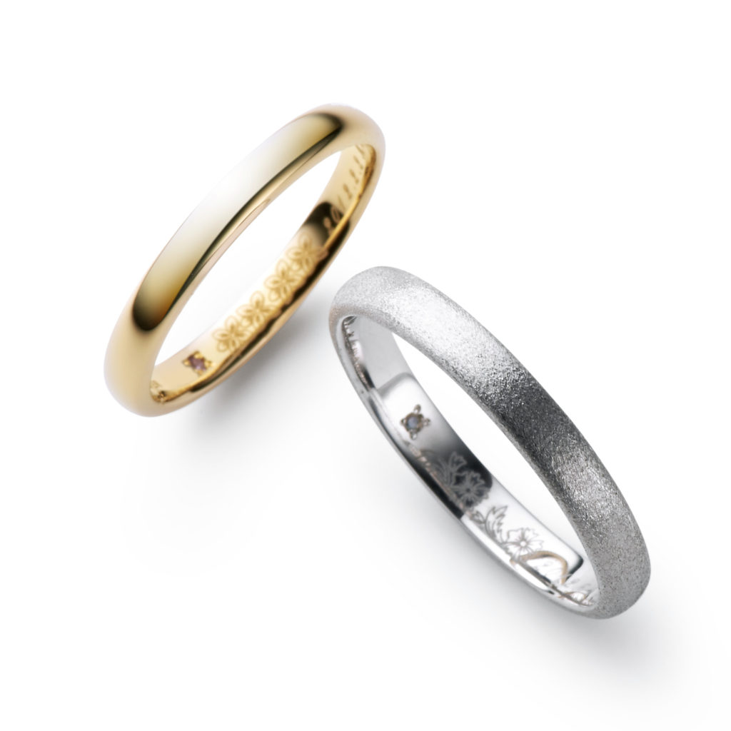 HANAKOKU 結婚指輪 シンプル アンティーク ストレート プラチナ イエローゴールド