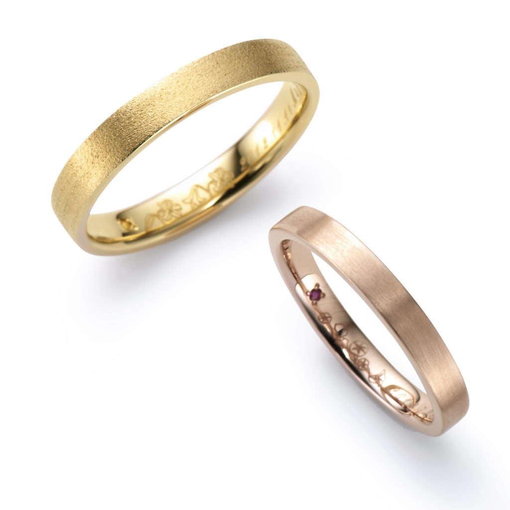 HANAKOKU 結婚指輪 シンプル 個性派 ストレート イエローゴールド ピンクゴールド