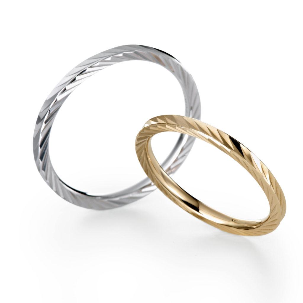 KAZAGURUMA 結婚指輪 シンプル アンティーク 個性派 ストレート プラチナ イエローゴールド