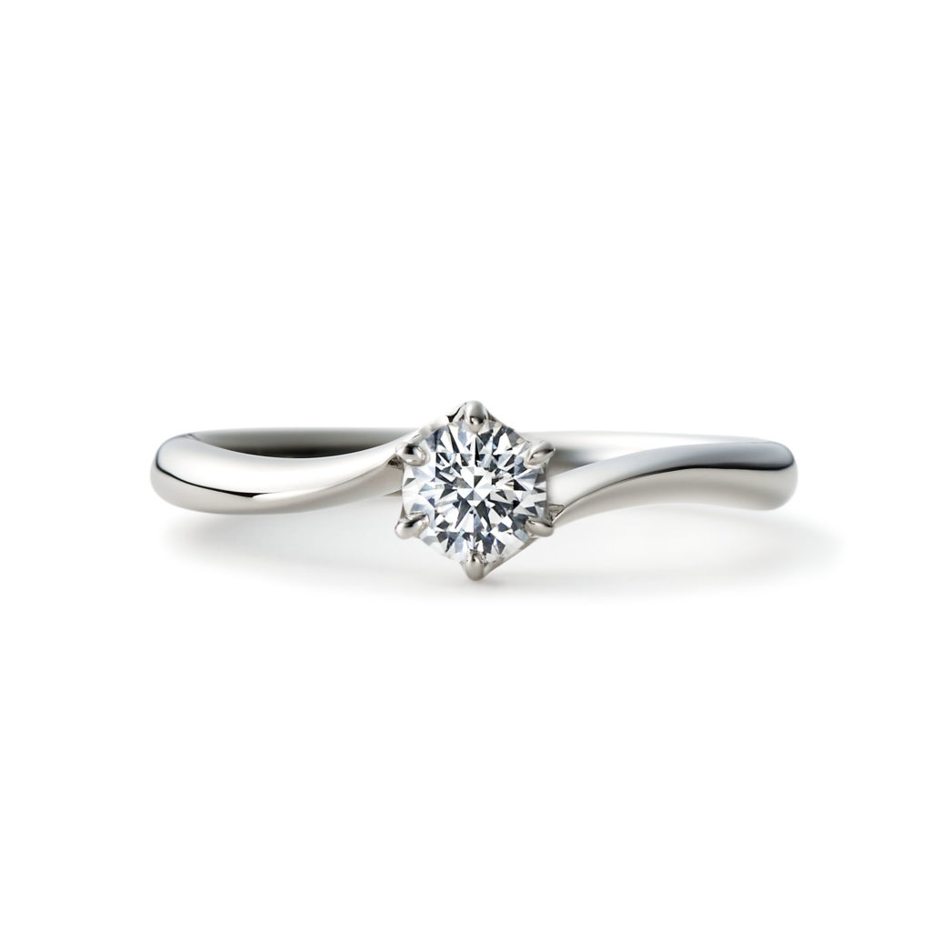 KOYORI 婚約指輪 エレガント V字(ウェーブ) プラチナ
