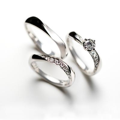 créme d'ange 婚約指輪 セットリング エレガント 個性派 S字(ウェーブ) 幅広 プラチナ