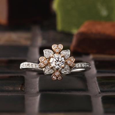 Fleurage 婚約指輪 キュート 個性派 V字(ウェーブ) コンビ