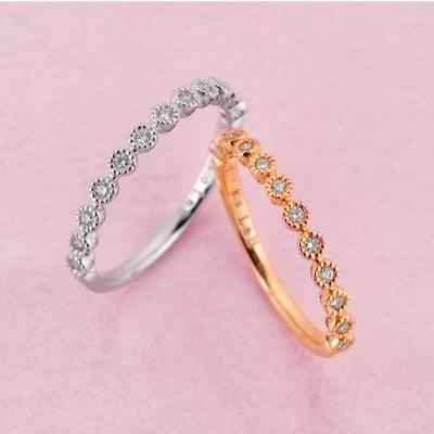 8 eight 結婚指輪 アンティーク キュート ストレート プラチナ ピンクゴールド