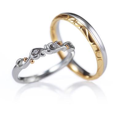 Ange 結婚指輪 エレガント キュート ストレート プラチナ ピンクゴールド コンビ