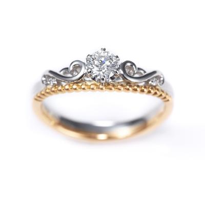 Joli 婚約指輪 エレガント 個性派 V字(ウェーブ) 幅広 コンビ