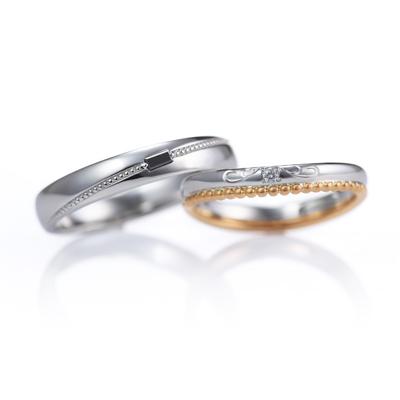Joli 結婚指輪 エレガント キュート V字(ウェーブ) プラチナ ピンクゴールド コンビ