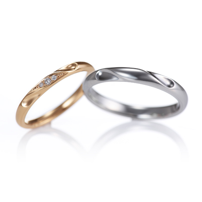 Lien 結婚指輪 シンプル キュート 個性派 ストレート プラチナ ピンクゴールド
