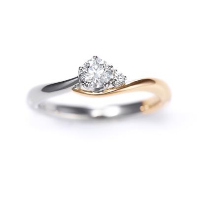 Lune 婚約指輪 エレガント キュート S字(ウェーブ) ピンクゴールド コンビ