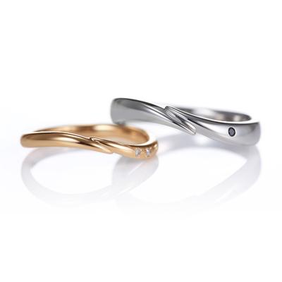 Lune 結婚指輪 キュート 個性派 V字(ウェーブ) プラチナ ピンクゴールド