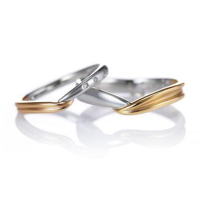 Parfum 結婚指輪 シンプル キュート 個性派 V字(ウェーブ) コンビ