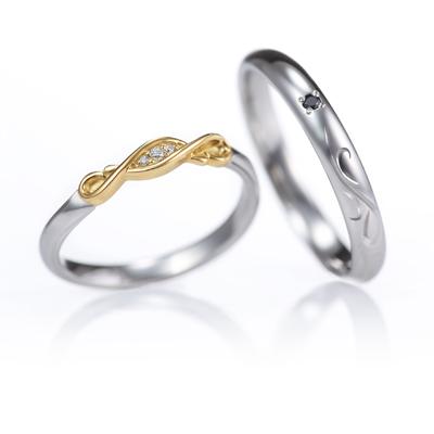 Plume 結婚指輪 エレガント キュート 個性派 ストレート S字(ウェーブ) プラチナ コンビ