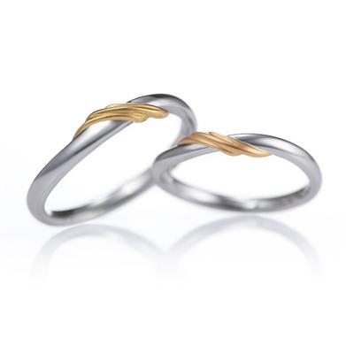 Reve 結婚指輪 キュート 個性派 S字(ウェーブ) コンビ