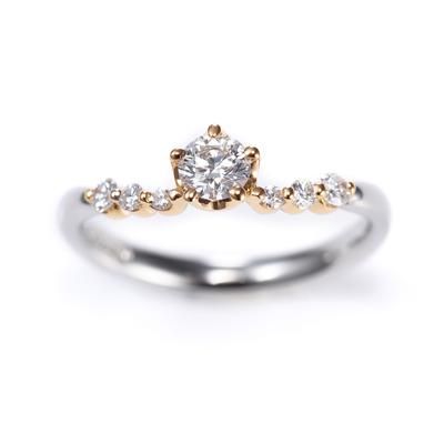 Scintillement 婚約指輪 キュート 個性派 V字(ウェーブ) コンビ
