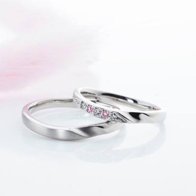 La Distance 結婚指輪 シンプル キュート V字(ウェーブ) プラチナ